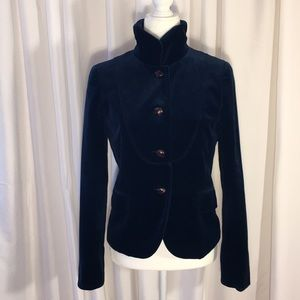 J.Crew  Bella Blue Velvet Button Up Jacket